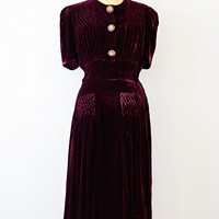 vintage 1930s burgundy smocked velvet dress [Bouverie Velvet Dress] - $188.00 : Vintage & Vintage Inspired Clothing, Adored Vintage, Portland Oregon