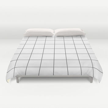 Duvet Cover, grid bedding, black and white bedding, grid duvet cover, Bedding, Home Interior Decoration