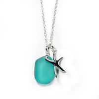 Starfish and Sea Glass Necklace - Turquoise