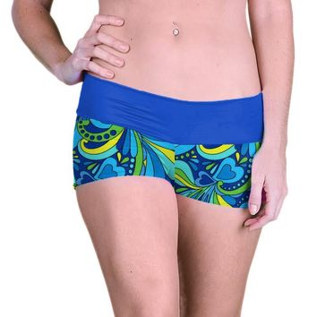 Outta Bounds Yoga Shorts Spandex Exercise Shorts Blue Hearts Swirls