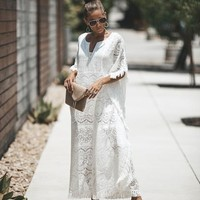 Vacay Of Your Dreams Lace Cotton Kaftan - Off White