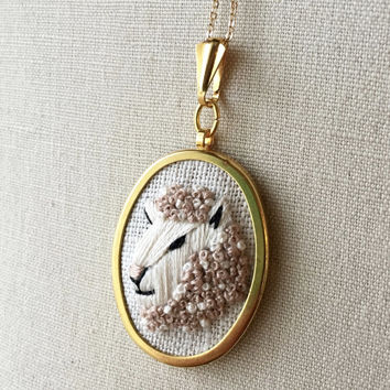 Sheep Animal Necklace Embroidery Pendant or Brooch Jewelry Embroidered Animal Pendant