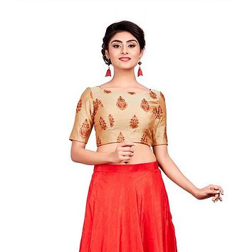 Designer Indian Embroidery Padded Back Open Hooks Elbow Sleeves Saree Blouse (X-713)