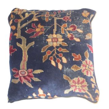 Pre-owned Antique Agra Carpet Fragment Pillow