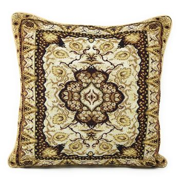 """DaDa Bedding Elegant Golden Opulence Floral Damask Tapestry Throw Pillow Covers 16"""" (18119)"""