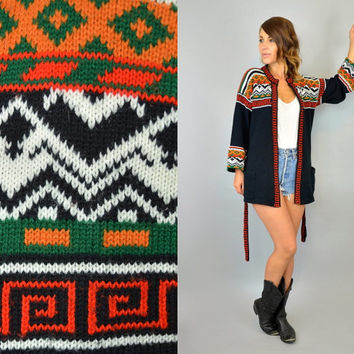 vtg 70s/80s ethnic TRIBAL scroll boho hippie WRAP CARDIGAN 100% acrylic knit sweater, extra small-large