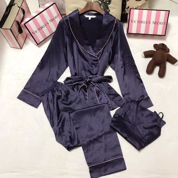 DCCKHB0 Victoria's Secret Women Silk Satin Pants Trousers Vest Tank Top Robe Sleepwear Loungewear Set Three-Piece