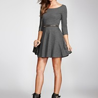 Three-Quarter Sleeve French Terry Fit-and-Flare Dress | GUESS.com