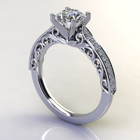 Custom Antique Style Engagement Ring
