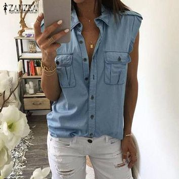ONETOW 2017 Summer Women Fashion Vintage Buttons Pockets Blouses Sexy Sleeveless Jeans Denim Blue Shirts Female Casual Blusas Tops