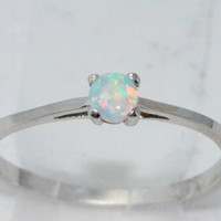 3mm Opal Round Ring .925 Sterling Silver Rhodium Finish White Gold Quality