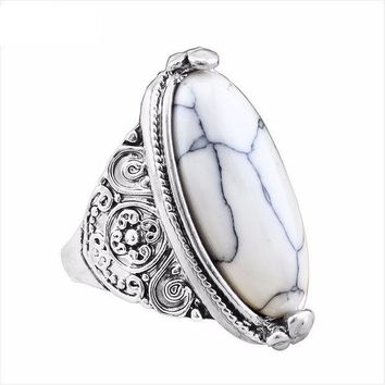 ESBONEJ OPAL FERRIE - Vintage Tibetan Look  Antique Silver Plated IVORY Oval Marble Turquoise Ring