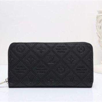 LMFON Tagre? Louis Vuitton Solid Color Simple Fashion Letter Embossed Long Section Zip Wallet Clutch Unisex Purse