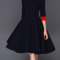 Women Dress Doll collar 3/4 Sleeve Party A-line Yellow Black Short Dresses Slim New Autumn And Winter Elegant Fashion Vintage