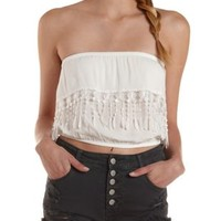White Crocheted Fringe Flounce Tube Top by Charlotte Russe