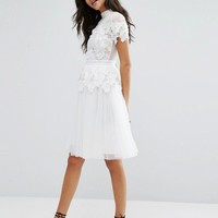 Miss Selfridge Lace And Tulle Layer Dress at asos.com