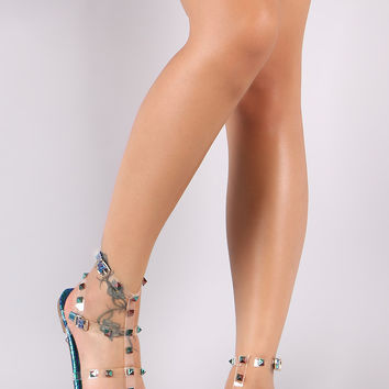 Liliana Holographic Snake Lucite Studded Cage Flat Sandal