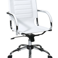 Office Star Trinidad Office Chair With Fixed Padded Arms and Chrome Finish in White [TND941A-WH]