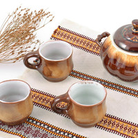 Handmade ceramic tea set glazed sugar bowl 350 ml and 3 cups 150 ml each