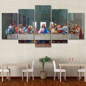 Canvas Wall Art: The Last Supper Jesus with Disciples Wall Art Print on Canvas 5-Panel