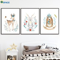 Deer Rabbit Bear Wall Art Canvas Painting Posters And Prints Nordic Poster Nursery Wall Pictures For Baby Girl Boy Room Decor