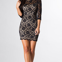 Short Lace Dress with 3/4 Length Sleeves