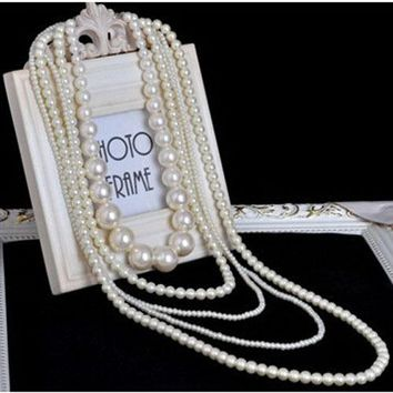 Women's Long Layered Chains / Pearl Strand / Long Necklace Multilayer, Normal Length White Fashionable Necklaces Jewelry