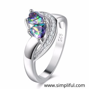 Double heart multi color CZ Finger ring - Design 2