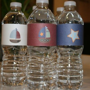 Sailboat Birthday Party water bottle wrappers by APartyStudio