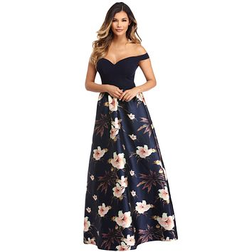 Z| Chicloth Off Shoulder Sweetheart Neck Bodice Floral Print Gown