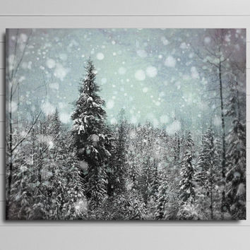 Winter Canvas, Blue and Black Art, Large Ski Photograph, Whistler Landscape Canvas, Nature Gallery Wrapped Canvas, Snow
