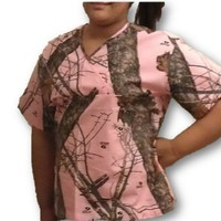 Mossy Oak Pink Camo Womens Scrub Shirt Top Made In USA Licensed Product S-3X (Large, Mossy Oak Break Up Pink)