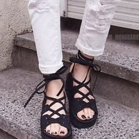 BlackNew Summer Lace Up Sandals = 4777194500