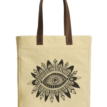 Aztec Tribal Eye Beige Canvas Tote Bags Leather Handles WAS_30