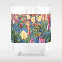 Spring Tulips Shower Curtain by BearClause
