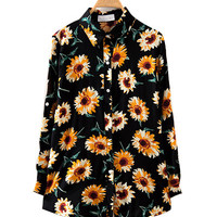 Black Daisy Print Long Sleeve Collared Shirt