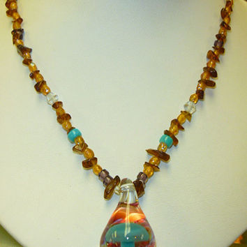 Beaded Glass Mushroom Hemp Necklace handmade macrame jewelry womens girls