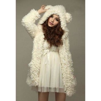 White Bear Ear Design Hooded Long Sleeves Fleece Coat