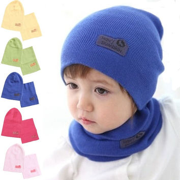 NEW Baby Kids Warmer Cartoon Ear Caps Hat Wrap Scarf Sets Children Kids Girls Boys Cap = 1958131396