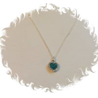 Blue heart crystal sterling silver chain necklace jewelry