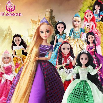 UCanaan Baby Doll 1/6 Princesses Toys For Children Prety Cinderella Rapunzel Mermaid Snow White Beauty Girls Princess Toy