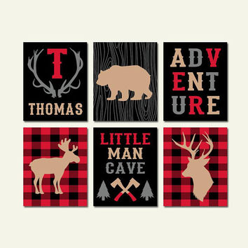 BUFFALO PLAID Decor, Lumberjack Baby Shower, Lumberjack Birthday Gift for Boy, Buffalo Plaid Party Props, Theme Decorations Set of 6