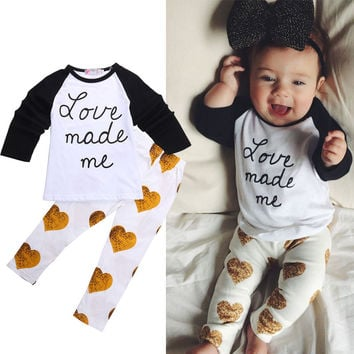 2PCS Toddler Kids Baby Girls Clothes Sets Outfits Cute Long Sleeve T-shirt + Pants Suit Costume Spring Summer Set 1 2 3 4 Years