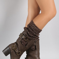 Wild Diva Lounge Sweater Shaft Buckled Knee High Boots