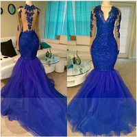 Sexy Long Sleeve Mermaid Prom Dresses 2017 New Appliques Beading Royal Blue Evening Dresses Formal Party Dresses