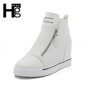 HEE GRAND Fashion Height Increasing Women Shoes Zip White Black Women Casual Pumps Wedges Shoes Drop Shipping,XWC471