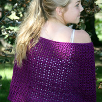 Purple wrap, modern shawl, autumn shrug, capelet, wedding bridesmaid accessory, crochet
