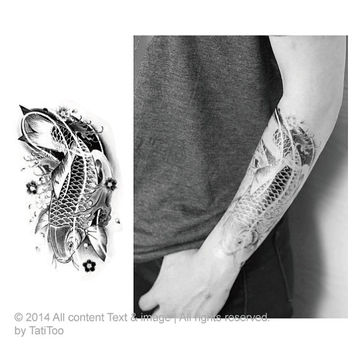 Koi Fish Tattoo  - Temporary Tattoo T179blk