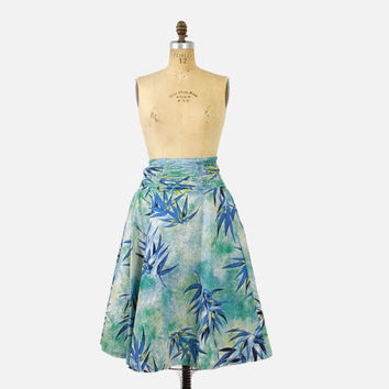 Vintage 50s SKIRT / 1950s CATALINA Hand Print HAWAIIAN Bamboo Novelty Print Full Skirt Xs - S