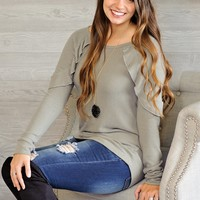 * Ginger L/S Top With Ruffle Detail : Olive